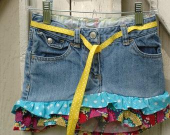 Little Girl's Size 4 Skirt Upcycled Jeans Skirt Ruffled Skirt