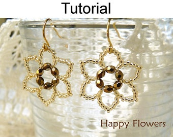 Beading Tutorial Pattern Earrings - Flower Jewelry - Simple Bead Patterns - Happy Flowers #417