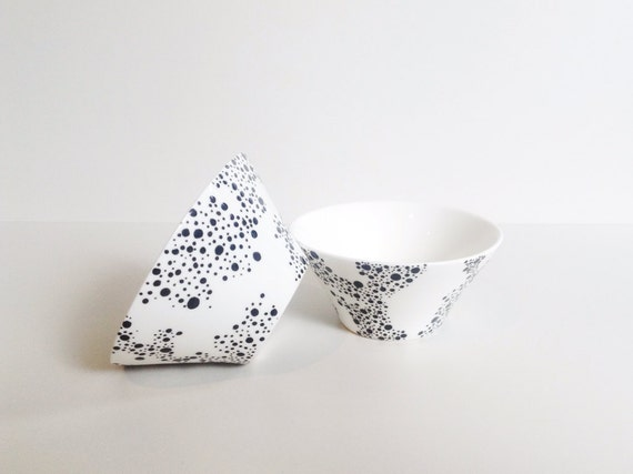 Set of 2 Porcelain Conical Dip Bowl/Dish  - hand drawn/decorated in black & white dot pattern