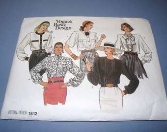Vogue 1812  Basic Design Blouse Wardrobe 8-10-12