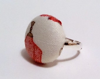 Manequin Button Ring, Habedashery Pink and White Fabric Ring, Silver Ring