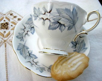 English Bone China Teacup and Saucer in Gray and White