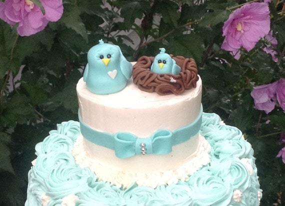 Items Similar To Mama Baby Bird Cake Topper Blue Bird Baby