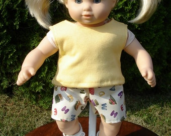 Alphabet Shorts and Tank Top Set made to fit 15 inch baby dolls
