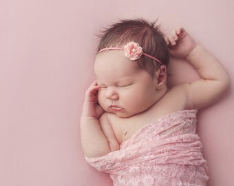Newborn Photo Prop: Pink Stretch Lace Wrap for Newborn Photo Shoot, Newborn Wrap, Infant Wrap, Newborn Photography, Infant Photo Shoot