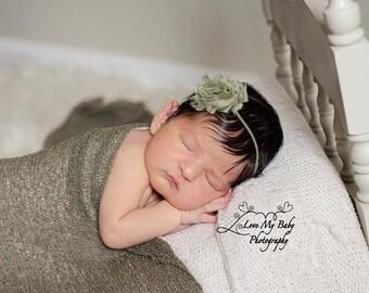 Fern Knit Wrap with Free Headband for Newborn Photo Shoot, Maternity Prop, Newborn Photography Wrap, Newborn Photo Prop, Infant Photography