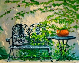 Garden Chair & Weeds, 10 x 13, print of original oil painting on light weight board