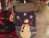 Primitive Juggling Stars Snowman in a Wood Jar Christmas Ornament