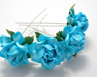 Turquoise/ Cyan/ Blue Rose Floral Hair Pin Set/ Summer/ Bridal/ Wedding Hair Accessories/ Bridesmaid Hair Pin/ Wedding Flower Pins