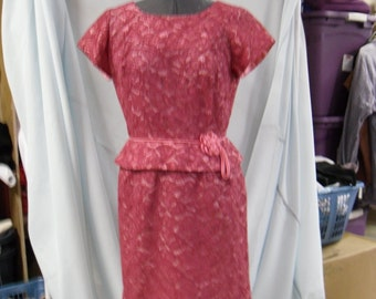 late 50's rose lace dress with pink taffeta lining