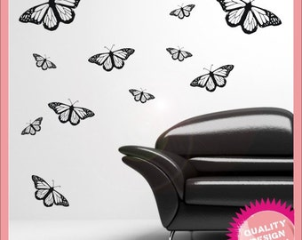 12 butterflys vinyl wall decal stickers