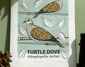 Small Limited Edition Turtle Dove Giclée Print