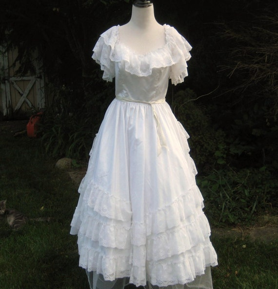 White Southern Belle Gown Cinderella Gown 80s Wedding Dress