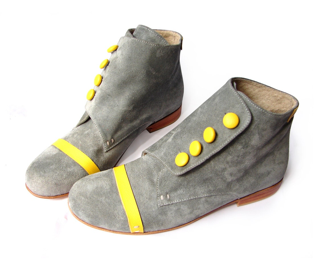Grey & Yellow Booties - Quiero June Shoes