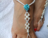 Barefoot Sandals Beach Wedding   Yoga Shoes Foot Jewelry  White Beads and Turquoise Flowers