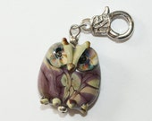 Pendant, charm, owl with cabin boat with Owl towing eye