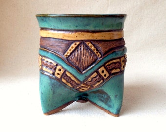 Pottery Tripod Planter - Hand Built and Carved - Blue Green Turquoise & Brown - Earth Tones
