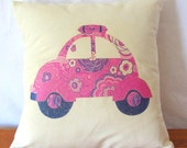 Pink VW Bug Scatter Cushion. VW Beetle Decorative Throw Pillow. 14 x 14 inch pillow cover