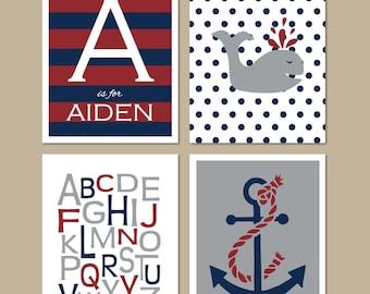 Childrens Boys Nautical and Alphabet Personalized Prints // Set of (4) many sizes // Midnight, Burgundy, Grey // Boys Nursery, Bedroom