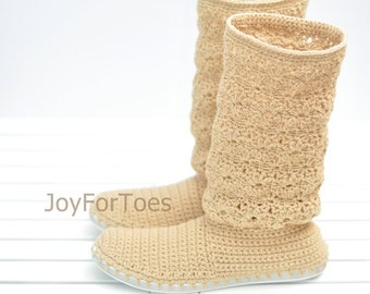 Crochet Boots Shoes for the Street Summer Boots Woman Laced Boho Style Made to Order Lace Boots Cotton Caramel