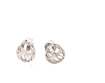 Sterling silver petite  Button earrings from the sabrawear collection,small size.gift for her ready to ship