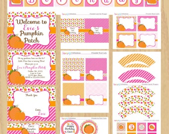 Pink and Orange Pumpkin Printable Party Package