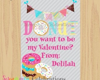 DIY Printable Favor Cards- Donut Valentines Day Tags -Holiday Cards -School Treats -Holiday