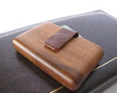 Wood wallet made from red oakwood. Business and credit card holder.