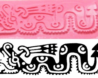 Small Aztec Serpent Design Stamping Tool for Polymer Ceramic - PMC Clay Stamp - Textile Design Stamp - Aztec Serpent Stamping Tool