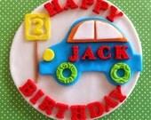 Fondant car cake topper, edible car, fondant birthday sign, fondant number, traffic, contruction party, truck, boy birthday party