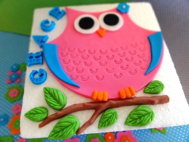 Edible Cake Image Owl : Fondant owl cake topper owl birthday party owl baby shower