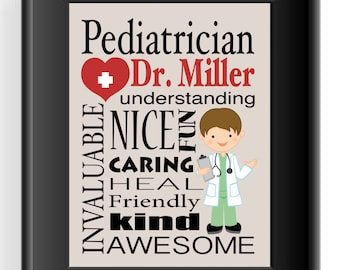 Personalized Pediatrician Gift - Doctor Subway Sign - Gift for Doctor - Kid's Doctor Wall Art - Can be made in other colors