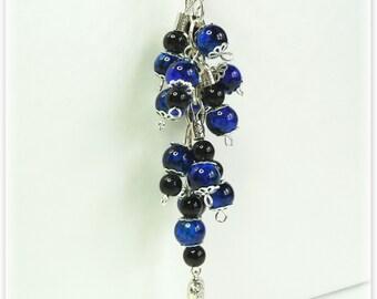 Blue & black Keychain/keyring or bag/purse Charm