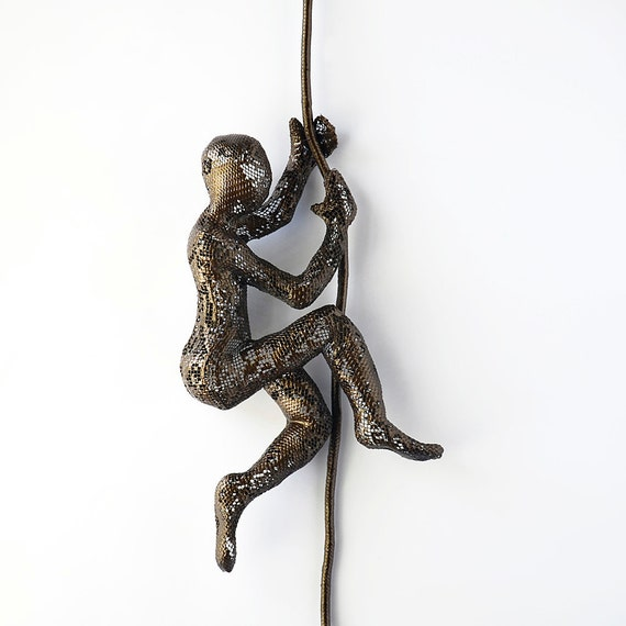 Climbing Figure on the rope - metal wall art - Unique gift - wire mesh sculpture - Contemporary art