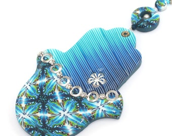 Wall decor stripes Hamsa, good fortune Hamsa, Polymer clay Hamsa in blue, turquoise white and green, blessing and luck
