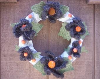 Rustic chic fall wreath/Flower wreath/Wreath/Flower button wreath/Jute flower wreath/Crochet flower wreath/fall flower wreath/Fabric wreath