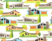 Mod Pad by Michael Miller - 1 Yard - Cotton - Homes - Mid-Century Fabric - Ranch Style Houses - House Fabric