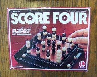 Score Four Strategy Game 2 Players Ages 8 to Adult - Vintage Game, Four in a Row Game