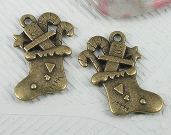 12pcs antiqued bronze color Christmas gift sock design charms EF0593
