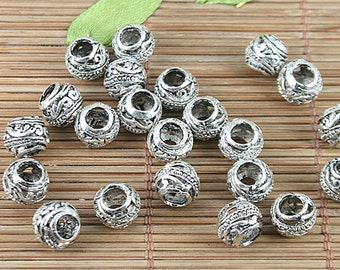 Tibetan silver tone wave patterns hollow spacer beads h5125 20pc