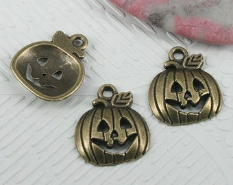 30pcs antiqued bronze color pumkin faced charms EF0621