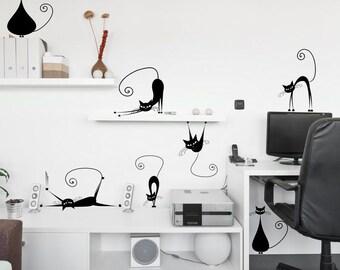 Wall sticker - Cats (katte,katten,кошки) (3395n)
