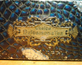 Antique BULE ALLIGATOR  gold and blue, much loved, great patina and charm a true antique flowers and birds Home Decor storage.sigh so lovely