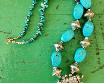 VTG Morrocan Blue Stone Tribal Hippie Boho Festival Necklace