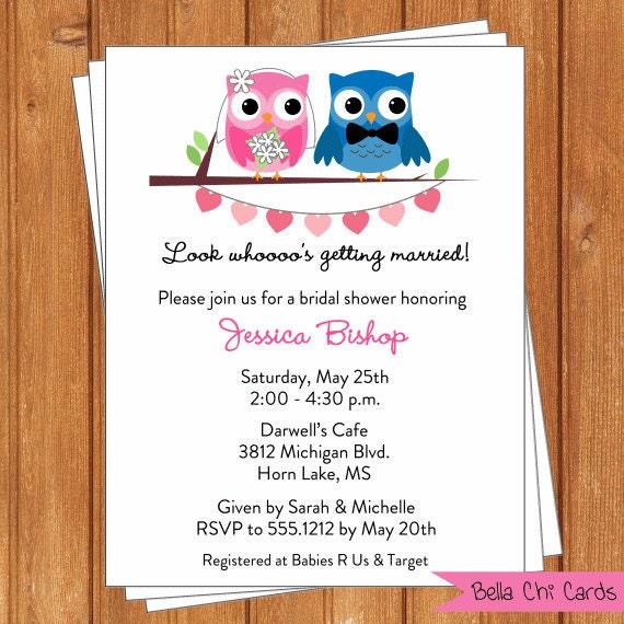 Wedding Owls Invitation | Bridal Shower | Printable Digital File ...