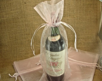 Organza Wine Bags - Pink - Great for Wedding Wine Favors - 10 bags