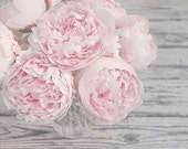 """Flower Photograph, Pink Peonies in a Vase, Fine Art Print, Pastel Pink Gray, Shabby Chic, Nursery Wall Art  """"Spring Peace"""""""