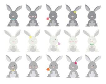 60% OFF SALE Clipart Easter Bunny Clip Art  Woodland Clipart  Animal Clip art  Digital Rabbits Clipart Bunnies  Cute  Kid's Clipart Holidays