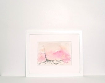 Small Abstract Painting -peach, pink, magenta, grey, abstract with watercolor and ink, original painting 5x7
