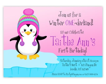 Penguin Invitation - Pink and Blue Ice Iceburg, Little Cold Winter Girl Penguin Personalized Birthday Party Invite - Digital Printable File